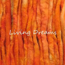 SPINNING FELTING hand dyed ORANGE Top Wool Roving Craft Fiber NEEDLE SOAP WET