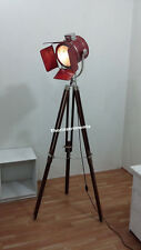 NAUTICAL COLLECTIBLE DESIGN CHROME FLOOR SPOTLIGHT WITH LEATHER TRIPOD  LAMP