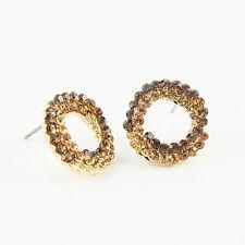 18k Gold GF with Swarovski crystals hoop stud shiny earrings