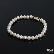Ladies / Womens 9ct Gold Knotted Cultured Freshwater Pearl Bracelet Jewellery