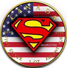 2016 1 Oz Silver US FLAG Superman Coin, 24K GOLD.