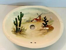 Vintage Capri Painted Porcelain Flush Mounted Sink Cactus Windmill Farm Novelty