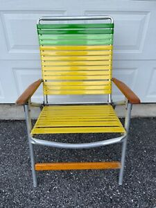 Vintage Telescope Aluminum Folding Lawn Patio Arm Chair Yellow and Green Vinyl
