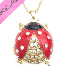 Jewelry Betsey Johnson Pendant Rhinestone Charm Ladybug Chain Women Necklace hot