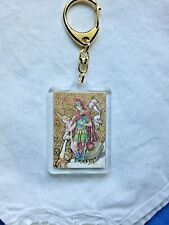 """ST. FLORIAN KEY CHAIN & PRAYER,  2-1/4""""H x 1-3/4""""W   *NEW* Gold embossed picture"""
