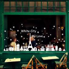 Christmas Snow City Wall Stickers Window Sticker Decoration Waterproof DIY