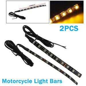 1SET Motorcycle LED Light Brake Turn Signal Backup License Plate Amber Light Bar