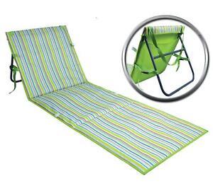 Washable Beach Mat Adjustable Backrest Pocket Flat Garden Portable Sun Lounger