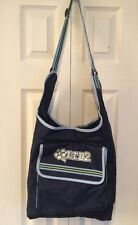 Limited Too Cross Body Messenger School Book Overnight Bag Blue Lime Green