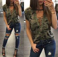 Women's Camouflage Deep V-Neck Tops Hollow Out Lace Up Long Sleeve Shirts Sumer