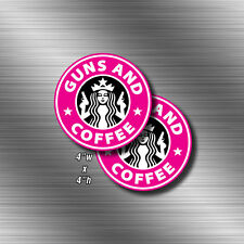2x PINK Guns And Coffee STICKER Tactical Military Funny Gun Rights Decal