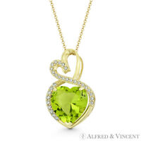 Faux Peridot Green Clear CZ Crystal 14k Yellow Gold 22x13mm Double-Heart Pendant