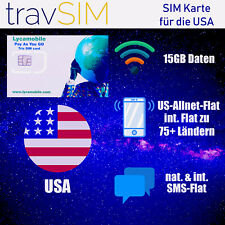 Lycamobile USA SIM Karte mit 15 GB 4G/LTE Internet + Int. Tel.-Flat Trio SIM