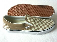 Vans Mens Classic Slip On Checkerboard Tiger Eye Brown Canvas Shoes Size 11 NWT