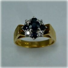 Vintage Sapphire & Diamond 18ct Gold Cluster Ring