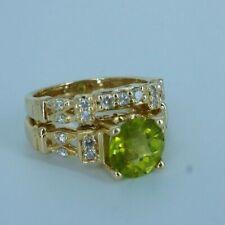 Beautiful Woman's Green Peridot & Diamond Ring