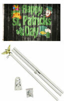 3x5 Happy St. Patricks Day Black Flag White Pole Kit Set 3'x5'