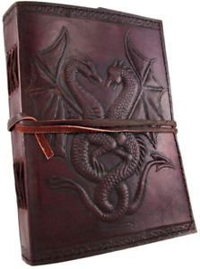 Sketch Book 240 Blank Paper Sheets Leather Bound Journal Embossed Dragons