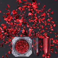 Born Pretty Nail Sequins Glitter Paillette Powder Dust Flakes Red Irregular Tips