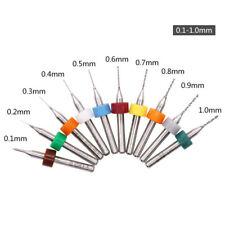 10Pcs Micro 0.1-1.0mm Brocas Carburo de Tungsteno Drill Bits Para CNC PCB