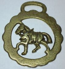 Vintage Horse Brass Harness Plaque Medallion of a Walking Draft Horse