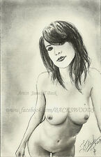Jenny's Birthday suit ACEO print Drawing nude female woman girl emo cheerleader