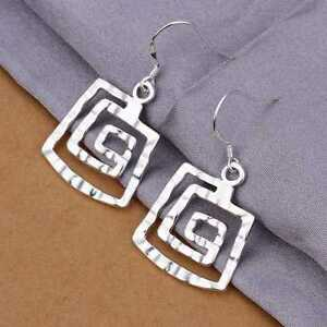 Silver Plated Square Thread Earrings.Pair of dangle Drop Dangly .925 Sterling