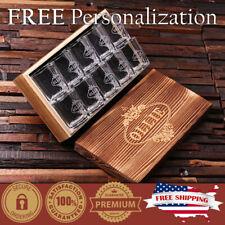 PERSONALIZED Engraved Shot Glasses & Keepsake Box Custom Gift Set Whiskey Vodka