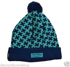 Pink Dolphin INFINITE CROSS Blue Teal Skull Cap Men's Pom Pom Knit Beanie