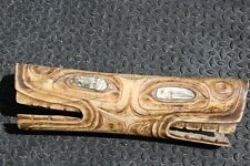 Northwest Coast Tsimshian Shaman's Soul Catcher Amulet Bear Head Carving Abalone