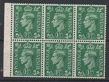 GREAT BRITAIN 1950 KGVI 11/2D BOOKLET PANE