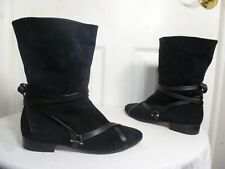 SARTORE WOMEN'S BLACK SUEDE/LEATHER WRAP STRAP FASHION ANKLE BOOTS 6½