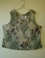 Cute Slinky Liquid Knit FRENCH LAUNDRY Size 3X Tank Top Greens Beige Dark Tones