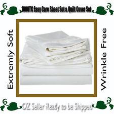 1000TC Super Soft Sheet Set / Quilt Cover Set-White SB/KS/DB/QUEEN/KING