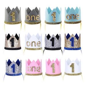 Infant Baby Boy Girl First Birthday Crown Hair Accessory Cake Smash Hat Headband