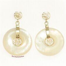 14k Yellow Gold Blessing Dangles; Donut Shape White Mother of Pearl Earrings TPJ