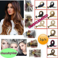 Double Drawn Keratin Nano Ring Beads Tip Real Remy Human Hair Extensions 1g/s 8A