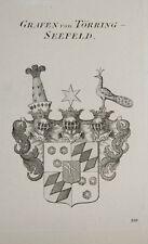 1847 Coat of Arms Wappen Grafen von Törring-Seefeld Kupferstich von Tyroff