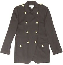 Chaus Wool Blazer Military Inspired Career Gold Buttons Long Size 8 Army Green