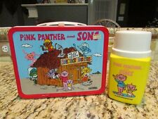 VINTAGE UNUSED OLD 1984 PINK PANTHER AND SONS METAL LUNCHBOX & THERMOS W/TAG