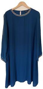 George Maternity Women Teal Long Sleeve Bead Embellished Trim Midi Dress Size24