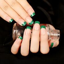 Green Glitter French Fake Nails 24 Pcs Short Oval Full Artificial Nail Tips