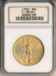 1924 $20 SAINT GAUDENS GOLD DOUBLE EAGLE **NGC CERTIFIED MS 64** NICE!!