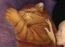 Grußkarte: Malerei von Leonor Fini: Psyche - rote Katze