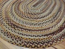 Braided Vintage Oval 8x10  Oriental area rug wool Beige Brown Gold Round