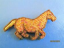 Colors Of Golds & Browns Seed Beads Never Worn Beautiful Horse Pin With Multi