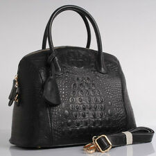 Black Embossed (with Crocodile Effect) Italian Leather Handbags