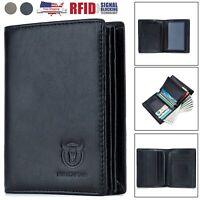 Mens Wallet Genuine Leather RFID Blocking Bifold ID Credit Card Holder Billfold