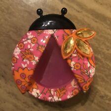 Bath & Body Works PINK ORANGE BLING Flower LADYBUG Scentportable Holder Car Clip