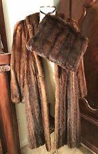 VINTAGE SHOWCASE BROWN MINK FUR COAT JACKET STROLLER W/ ORIG MATCHING MINK MUFF